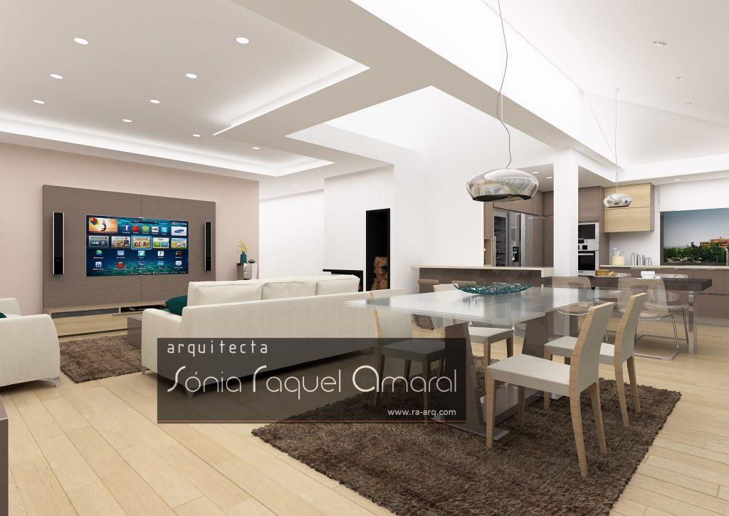 Projecto de Interiores 3D - Habitação em Paris - Issy les Moulineaux: Vista das salas de estar e jantar, com mesa com tampo em vidro extensível