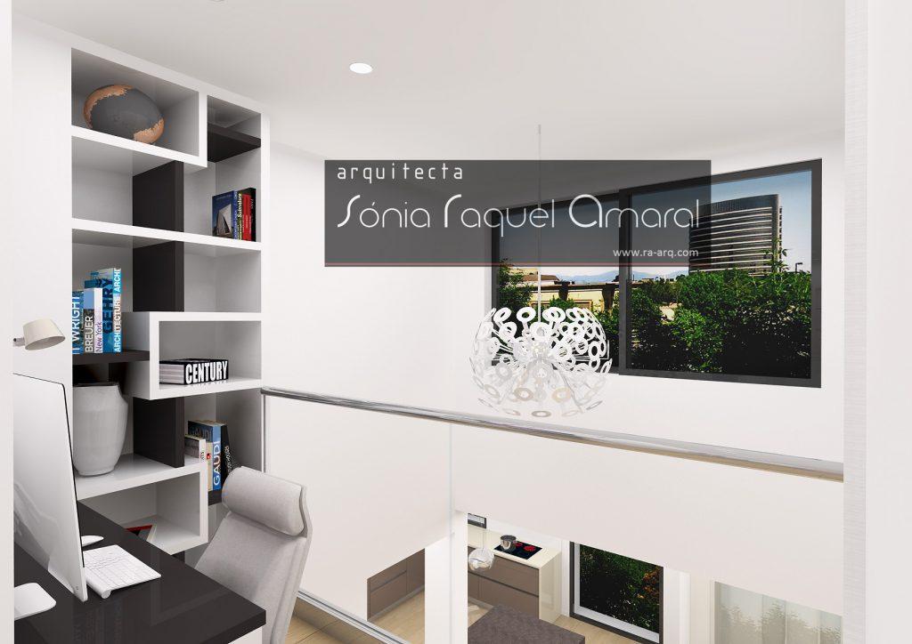 Projecto de Interiores 3D - Habitação em Paris - Issy les Moulineaux: Escritório, com mobiliário lacado, aberto para o piso inferior, com vista para a sala e cozinha