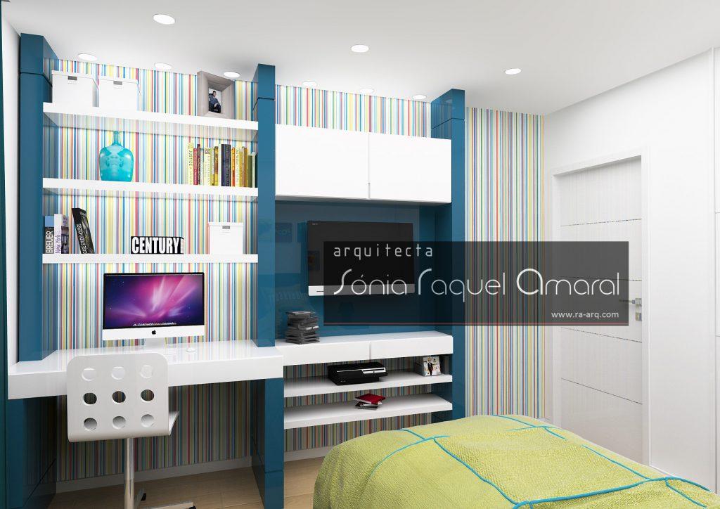 Projecto de Interiores 3D - Habitação em Paris - Issy les Moulineaux: Quarto de rapaz lacado em tons de azul e branco e papel de parede com riscas multicolor