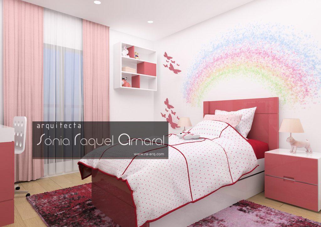Projecto de Interiores 3D - Habitação em Paris - Issy les Moulineaux: Quarto de rapariga lacado em cor de rosa e decorado com borboletas e arco-íris