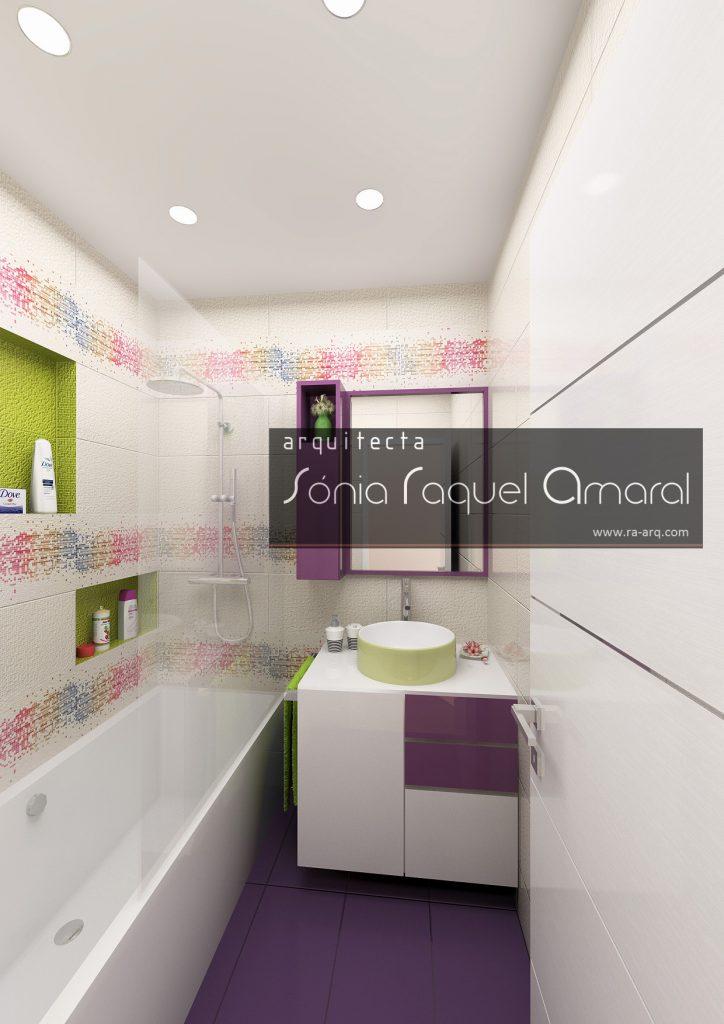 """Projecto de Interiores 3D - Habitação em Paris - Issy les Moulineaux: Casa de banho de rapariga com revestimento cerâmico """"Tetris"""" da Revigres"""