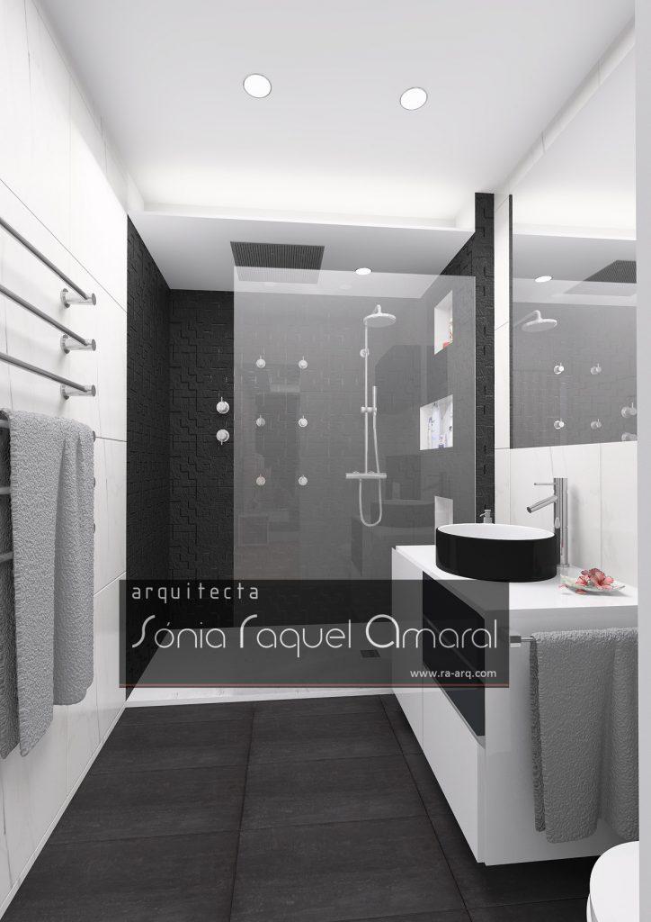 Projecto de Interiores 3D - Habitação em Paris - Issy les Moulineaux: Casa de banho da suite, em tons preto e branco