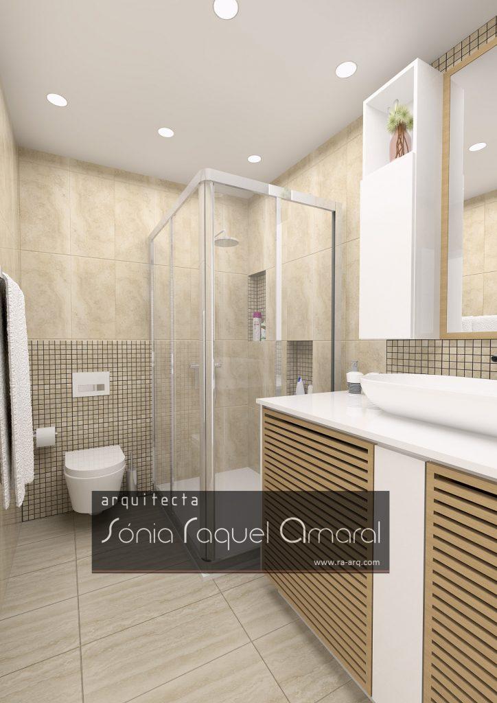 Projecto de Interiores 3D - Habitação em Paris - Issy les Moulineaux: Casa de banho em tons de bege com móvel com portas em ripado de madeira na zona das máquinas de lavar roupa